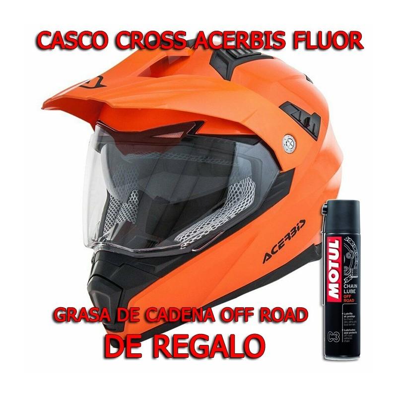 CASCO CROSS ACERBIS FLIP FS-606 FLUOR CON REGALO GRASA DE CADENA