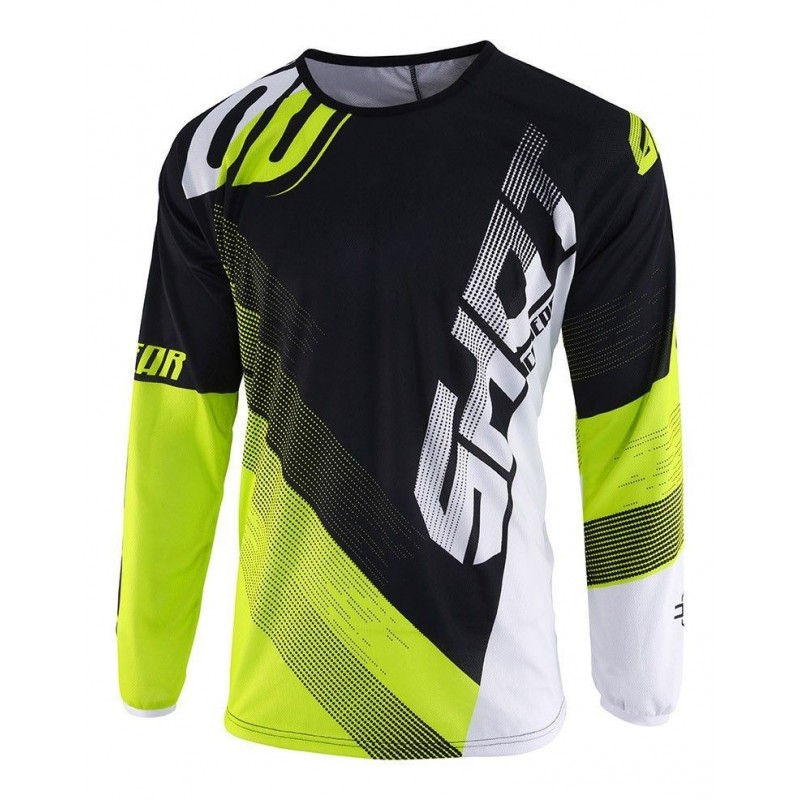 MAILLOT OFF-ROAD SHOT ULTIMATE NOIR NEON JAUNE CARA DELANTERA