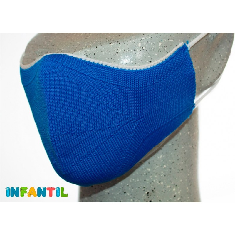 Mascarilla higiénicas infantiles reutilizables en color azul hechas en España